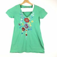 Johnny Was JW Los Angeles Medium Green Embroidered Short Sleeve Tunic T-Shirt