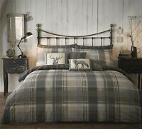 100% BRUSHED COTTON CHECK GREY BEIGE CREAM STAG DOUBLE DUVET COMFORTER COVER
