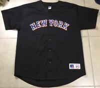 VTG Men's New York Mets 2000 Sz XL RUSSELL Athletic Black MLB Jersey VINTAGE