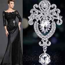 New Sexy Silver Large Flower Bridal Brooch Rhinestone Crystal Wedding Broach Pin