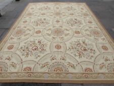 Old Hand Made French Design Wool Beige Brown Gold Original Aubusson 371X273cm