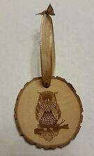 Rustic Country wood Owl Christmas  Ornament
