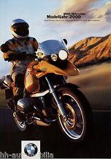 Motocicleta BMW folleto 2000 8/99 c1 f650 r1200c r1100rt r850c r1150gs r850r moto