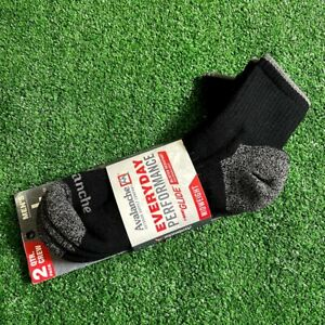 Avalanche Men's 2 Pairs Pack Quarter Crew Midweight Black  Socks Size L NEW