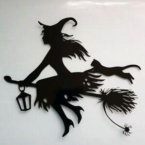 1x Witch Broomstick Cat Car Van Vinyl Sticker Decal Window Halloween 7x6in Black
