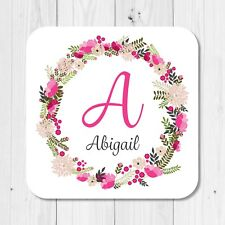 Personalised Name Initial Floral Coaster Sentimental Cute Birthday Gift Present
