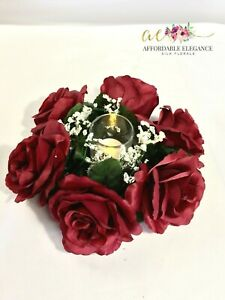 Burgundy Candle Rings Artificial Roses Silk Wedding Party Centerpiece Christmas