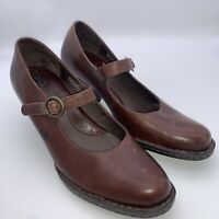Born Women's Brown Leather Mary Jane Heels Buckle Strap Shoes Size 7.5 / 38
