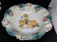 R S Prussia pressed fruit/serving bowl yellow & pink roses excellent condition