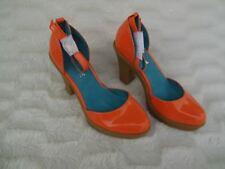 "Anne Michelle Women 7 Neon Orange Patent Shoes Rubber 3.5"" Platform Heels"