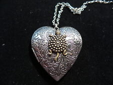 ANTIQUE SILVER TURTLE HEART LOCKET