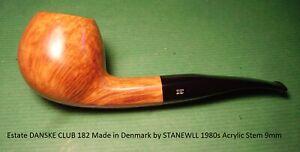 Estate DANSKE CLUB 182 Made in Denmark by STANEWLL 1980s Acrylic Stem 9mm  #1346