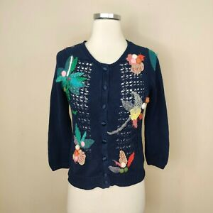 Anthropologie Mona + Mabel Floral Cardigan Sweater Blue Knit XS