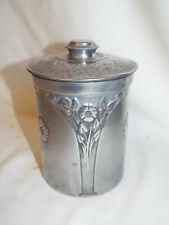 More details for antique aluminium art nouveau tea caddy by n.c.joseph ltd.