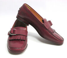 Tod's Womens Red Maroon Fringe Loafers Shoes Size 7