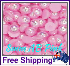 8mm Half Pearls Embellishment - 50 Pack - AB Pink - By Gypsy Bling - Free Ship