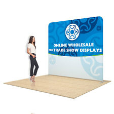 8ft Straight Portable Pop-Up Tension Fabric Trade Show Display One Sided Graphic