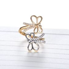 Clear Charms Sapphire Crystal Two Gold Tone Adjustable Finger Dragonfly Ring US
