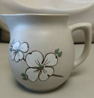 Vintage Pigeon Forge Pottery Large Pitcher Dogwood Flower handmade in USA MINT