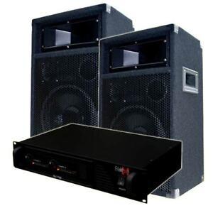 2x 500W DJ PA Anlage Party Sound Set DJ-700 Endstufe & PW25 Lautsprecher Boxen