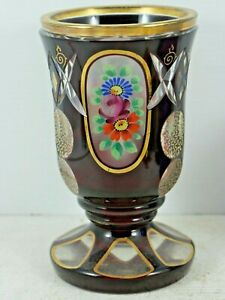 VERY BEAUTIFUL OLD DEEPLY CUT RUBY GLASS VASE BOHEMIAN PAINTED FLOWERS - L@@K