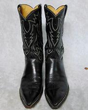 JUSTIN BOOTS Ladies 11D Mens 10D Black Leather #2005 Cowboy Western Dress USA