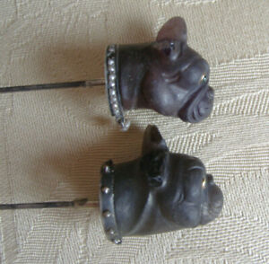 Pair (2) of antique large Hatpins with glass French bulldogs heads, both damaged