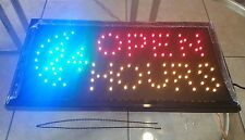 """OPEN 24 HOURS"" Animated LED Business Plug-In Lightweight Sign Display w/Chain"