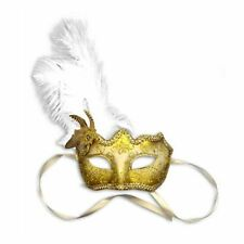 White Feather Glitter Mask Venetian Style Masquerade Ball Party Face Eye Mask.