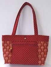 Free Shipping - Dark Red Waverly Print Handmade Tote (238)