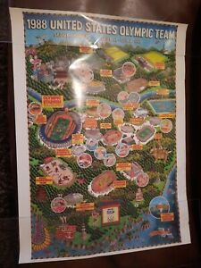 """1988 Olympic Poster For The United States Team In Seoul Korea 16""""×24"""""""