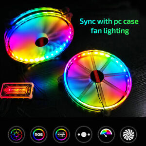 2Pcs 12V 200mm RGB PC Case Fan LED Air Cooling RF Remote Control Computer Cooler