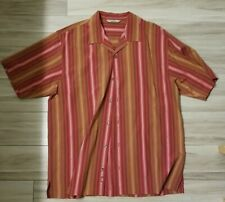 Tommy Bahama Men's Button Down Short Sleeve Sz L Red Brown Stripe 100% Silk