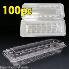 100x Plastic Disposable Lunch Container Sushi Box Clear Take away H-24 BPA Free