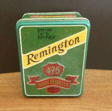 Vintage Remington Rim Fire 22 Long Rifle Empty Ammunition Metal Tin Box
