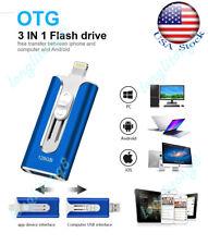 OTG USB Flash Drive Thumb Memory Photo Stick 3In1 Pendrive For iPhone iPad 128GB