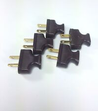 5 BROWN Vintage Antique Style Electrical Plugs - Cloth Covered Lamp Cord Plugs