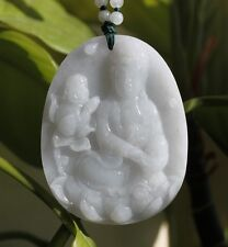 Certified Natural Untreated Light Lavender JADE Kwan-yin Buddha Pendant Necklace