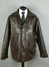 Vintage Wallace Sacks Mens Leather Jacket L Large Dark Brown Heavy Thick Leather