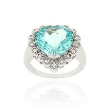 925 Silver 7ct. Blue Topaz & CZ Heart Ring Size 10