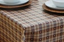 1.4X2.5m OBLONG BROWN HEARTS PVC WITH PARASOL HOLE / GARDEN TABLECLOTH