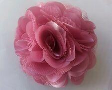 "Girls Womens 3""satin & Net Full Flower Hair Clip, Brooch corsage Dusk Rose pink"