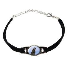 Wolf Howling - Novelty Suede Leather Metal Bracelet - Black