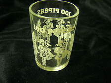 100 pipers scotch double shotglass 8 bagpipers on glass