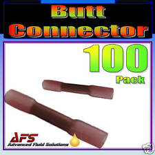 100 RED ADHESIVE LINED HEAT SHRINK BUTT CONNECTOR CRIMP