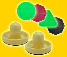 "2 Air Hockey Handles-Cream & 4 Pucks 2-1/2"" Round/Triangle/Octagon-Table Hockey"