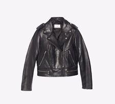 NWT Sandro Paris Motorcycle Short Leather Jacket Black Size 3 $745