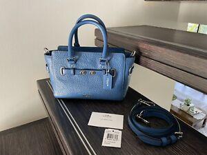 NWT Coach F37635 Mini Blake Carryall Pebble Leather Crossbody Blue