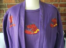 Purple Jacket & T-shirt 2 Pc Iron On Red Hat Yellow Bow Glitter Paint Trim