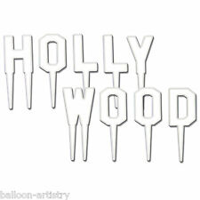 9 Lettera Bianco Hollywood segno MOVIE Awards Party Cake Topper Snack Picks